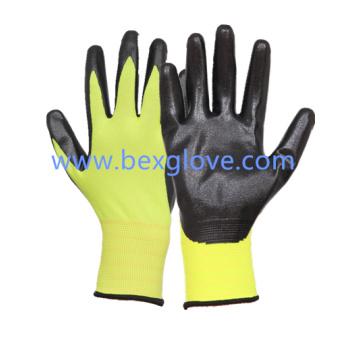 13 Gauge Fluores Polyester Liner Nitrile Glove