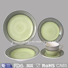 Зеленый цвет Глазурованной керамической Керамическая тарелка и кружка