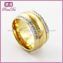 Anéis de aço inoxidável anel banhado a ouro dois ros de anéis de cristal