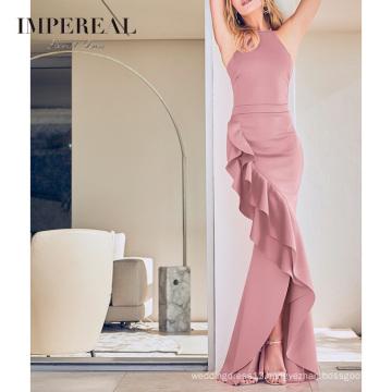 Wholesale Elegant Halter Neckline Ruffle Maxi Party Dresses Women