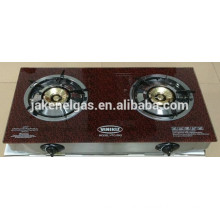 glass stove double burner gas cooker with stainless steel frame slim type