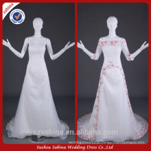 WY0500 marfim vermelho contas metade manga fotos reais alibaba vestido de noiva de duas peças