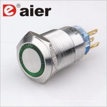 Interruptor de botón de metal de 5 pines a prueba de agua de 16 mm