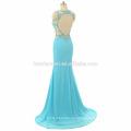 2017 Elegante frauen luxus blauen prom kleid sexy langen design backless geschnürte meerjungfrau benutzerdefinierte abendkleid