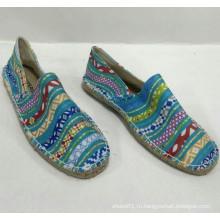 Конопля единственная оптовая дешевая синяя печать espadrille обувь Мужчины / Женская классическая обувь холст