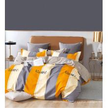 Elegante juego de cama de edredón floral estampado de algodón de sarga