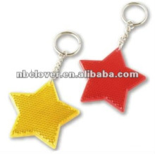 star shape pvc reflective toys with keyring