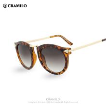 Retro Brand Designer Sunglasses Women Vintage round Coating mirror cat eye sunglasses metal sunglasses Oculos Gafas De Sol F1060
