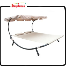 Outdoor Double Sun lounger Bed with Canopy and Wheel Canopy Bed