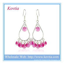Alibaba website fashion jewelry red crystal 925 sterling silver earring
