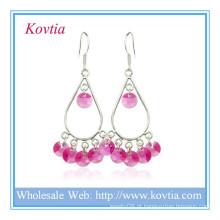 Alibaba site moda jóias de cristal vermelho 925 brinco de prata esterlina