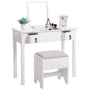 Cushioned Stool 3 Removable Organizers Mirror Makeup Dressing Table Writing Desk with 2 Drawers
