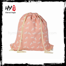 Flower printed custom canvas drawstring bags