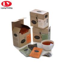Caja de empaquetado de la bolsita de té con la secuencia cercana