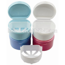 dental use Plastic 2ply Denture holder cleaning Box with net