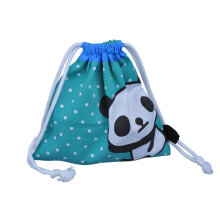 Blue cotton fabric bag with panda logo