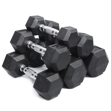 Fitness Gym Basic Equipment Gym Rubber Hex Dumbbells