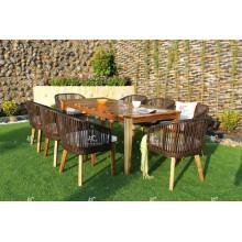 Mesa de madera de Acacia de mimbre del diseño más caliente y silla de cena Muebles al aire libre