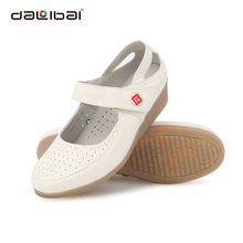 Medical white soft genuine leather nursing clogs and shoes