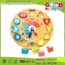 Hot Sale Educational Wooden Clock Toy,Shape Sorting Clock,Geometry Clock Toys