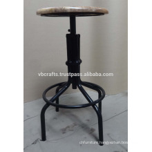 industrial Bar Stool swivel with wooden top