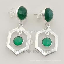 Дизайнер зеленый Оникс обручальное s925 серебро серьги