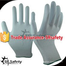 SRSAFETY 13 gauge knitted nylon liner coated water-based white PU palm gloves working gloves