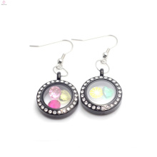 2015 Unique styles black crystal stainless steel coin floating locket earrings jewelry