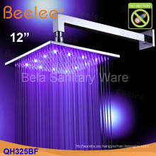 """Ahorro de agua montado en la pared 12 """"Cabeza de ducha de cobre amarillo de la lluvia del LED (Qh325bf)"""