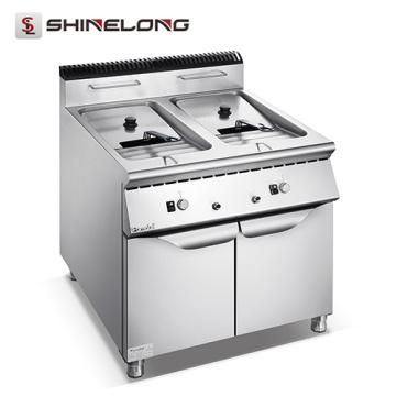 Serie 900 Cocina de cocina central a gas / eléctrica Máquina freidora industrial con 2 depósitos de 2 canastas