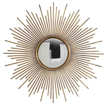 Espejo de pared convexo enmarcado redondo Sunburst en acabado dorado antiguo