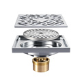 HIDEEP Chrome Plating Art Square Copper Floor Drain