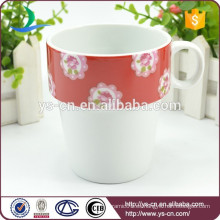 Factory China Taza de café de cerámica blanca taza de flor roja Decal