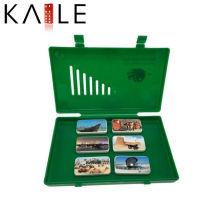 Jogo novo personalizado do dominó do projeto com a caixa plástica verde