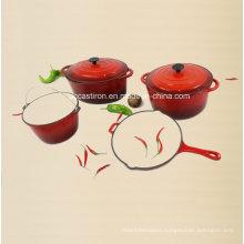 4PCS Cast Iron Cookware Set Ce Approved Factory