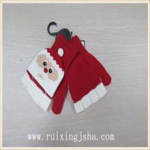 Padrão de chrismas crianças flip top Luva tricotada de meio dedo