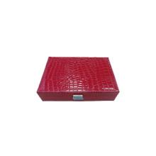 Rojo de cocodrilo papel envuelto madera relojes joyero (wb-rcx1)