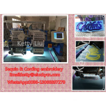 Sequin & cording embroidery 2 heads computerized embroidery machine price
