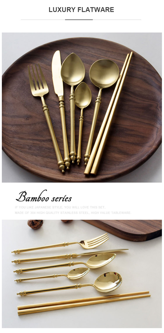 Mirror Gold Cutlery Set