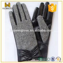 Gants en cuir souple pour femmes à la mode avec des gants de chevrons