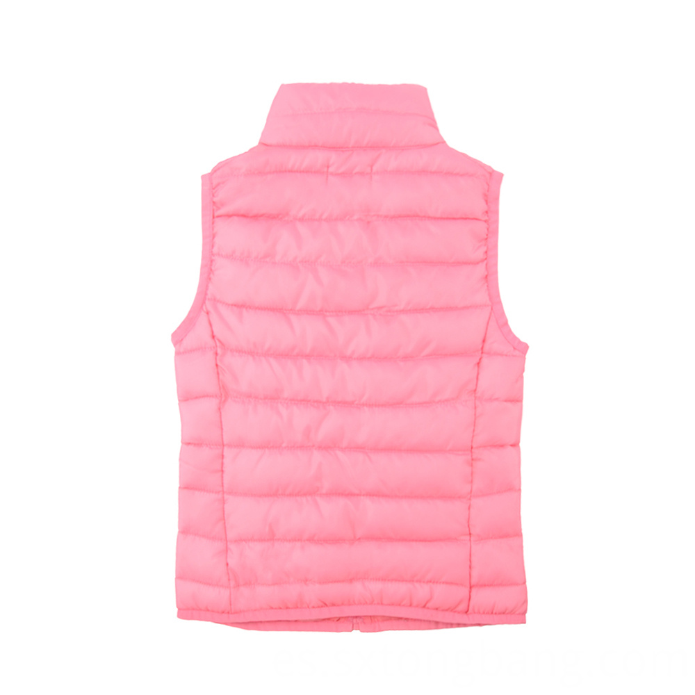 Pink Padded Vest with Stand Collar