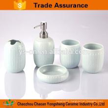 5pcs blue colour ceramic luxury bath accessories with twist relief