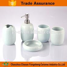 5pcs acessórios de banho de cerâmica de luxo azul cerâmica com alívio de torção
