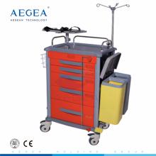 Crash de chariot médical d'urgence de patient d'hôpital matériel d'AG-ET018 ABS chariot de soins infirmiers à vendre