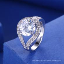 weißer großer Steinringfrauen-Verlobungs-Ehering des Brautzusatzes 2018