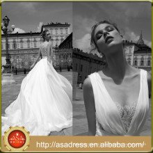 AR06 Sexy Beach Style Sheer Back Illusion Neckline White/Ivory Chiffon Wedding Dress 2016