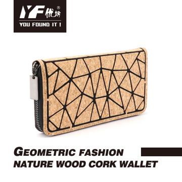 Long cork wood eco-friendly cork clutch wallet