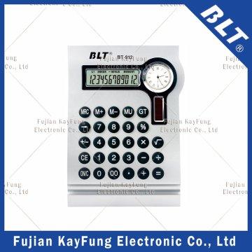Calculador de área de 12 dígitos com relógio para promoção (BT-912)