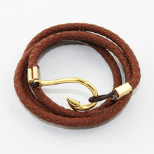2014 bracelet for genuine leather wrap bracelet fishhook men bracelet