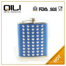 18/8 FDA 70Z Blue Leather Rivet Stainless Steel Flagon